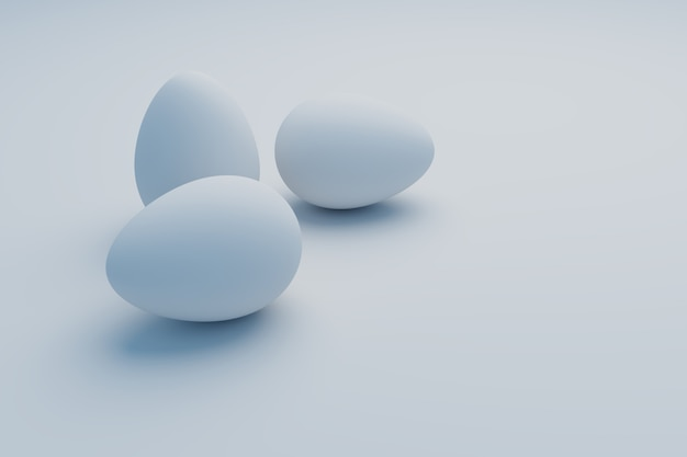 Oeuf blanc sur fond blanc, rendu d'illustration 3d