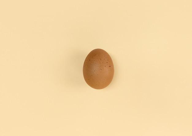 Oeuf brun sur fond beige. mise à plat minimaliste.