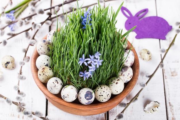 Oeuf de caille sur l'herbe dans un pot de fleur marron