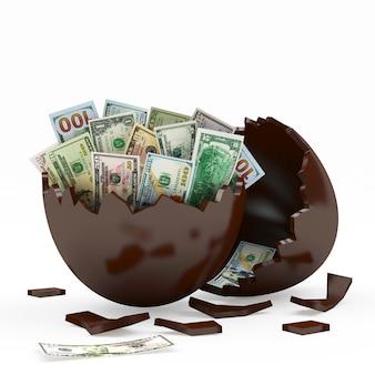 Oeuf cassé au chocolat plein de billets d'un dollar
