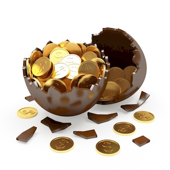 Oeuf cassé au chocolat plein de pièces de monnaie