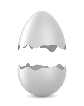 Oeuf cassé sur blanc. illustration 3d isolée