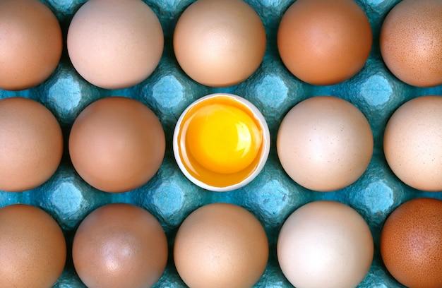 Oeuf cru cassé au milieu d'œufs entiers