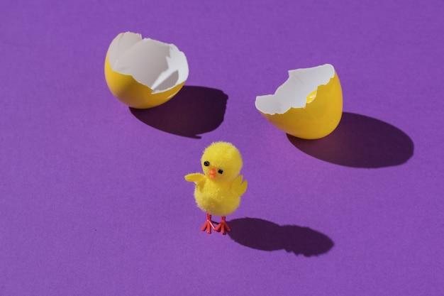 Un œuf fêlé et un petit poulet jaune sur fond violet.
