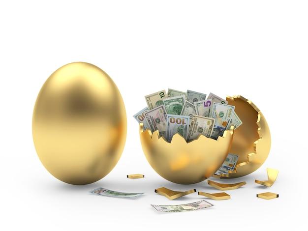 Oeuf d'or et coquille d'oeuf cassé avec des billets d'un dollar