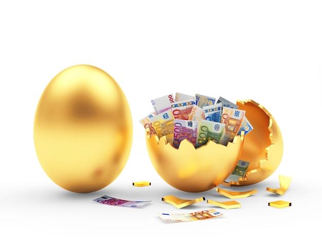 Oeuf d'or et coquille d'oeuf cassé avec des billets en euros