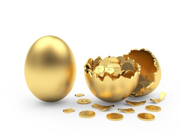 Oeuf d'or et coquille d'oeuf cassée avec des pièces