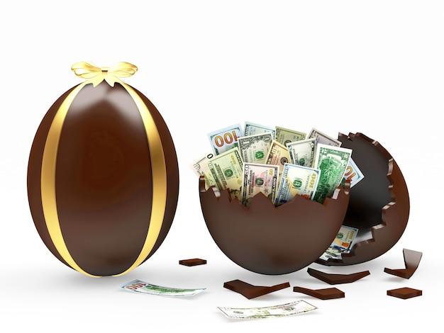 Oeuf de pâques au chocolat et oeuf cassé avec des billets d'un dollar