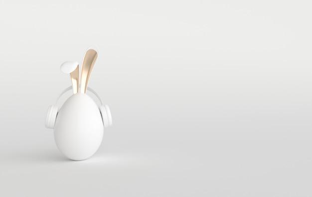 Oeuf de pâques blanc avec des oreilles de lapin sur blanc. joyeuses pâques grande chasse ou bannière de vente