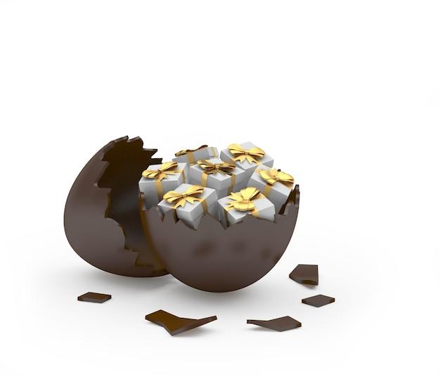 Oeuf de pâques cassé au chocolat avec coffrets cadeaux
