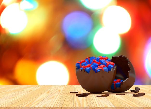Oeuf de pâques en chocolat cassé avec coffrets cadeaux