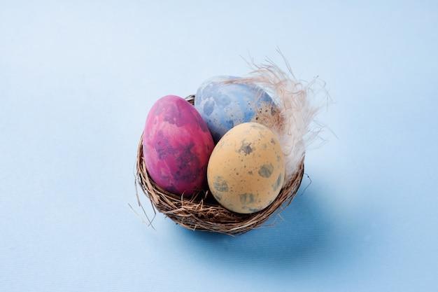 Oeuf de pâques coloré dans le nid sur fond bleu