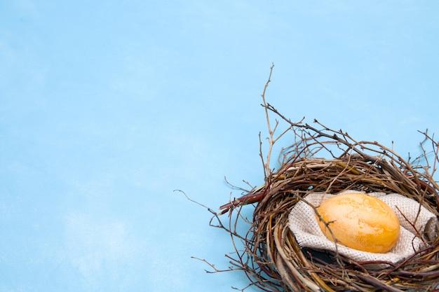 Oeuf de pâques dans un nid sur fond bleu