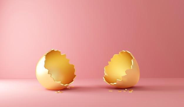 Oeuf de pâques doré cassé vide sur rose