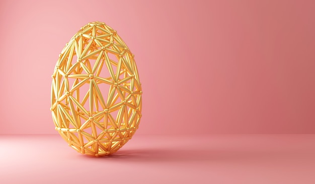Oeuf de pâques doré avec motif ornement sur rose avec lumière
