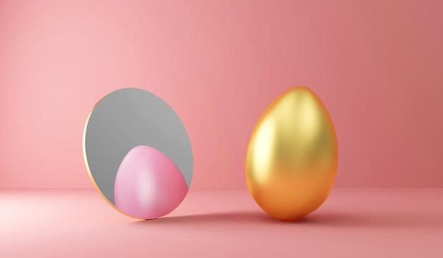 Oeuf de pâques doré reflété dans le miroir comme un œuf peint en rose sur