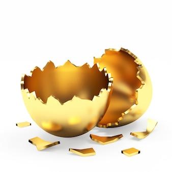 Oeuf de pâques doré vide cassé