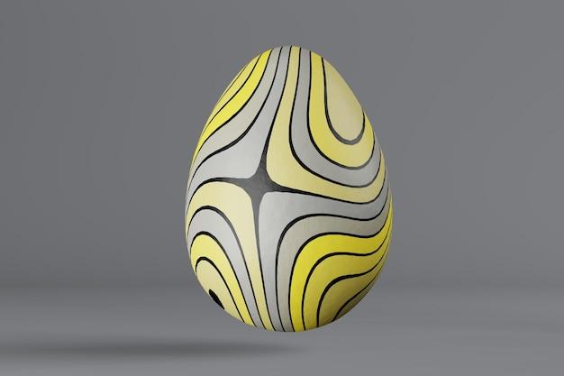 Oeuf de pâques peint dans des couleurs tendance 2021 illuminating and ultimate grey. rendu 3d