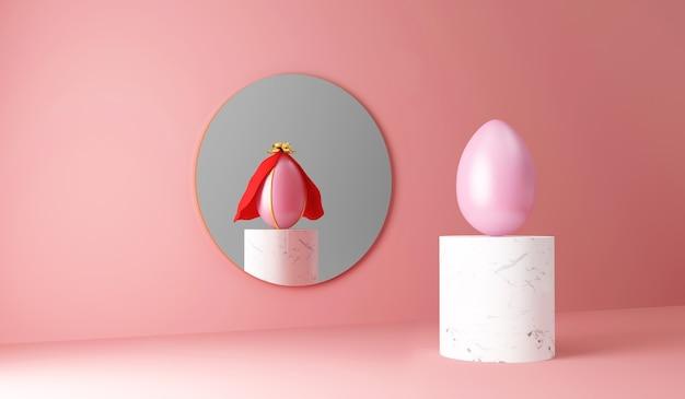 Oeuf de pâques peint sur support en marbre reflété dans le miroir comme un oeuf de super-héros sur rose