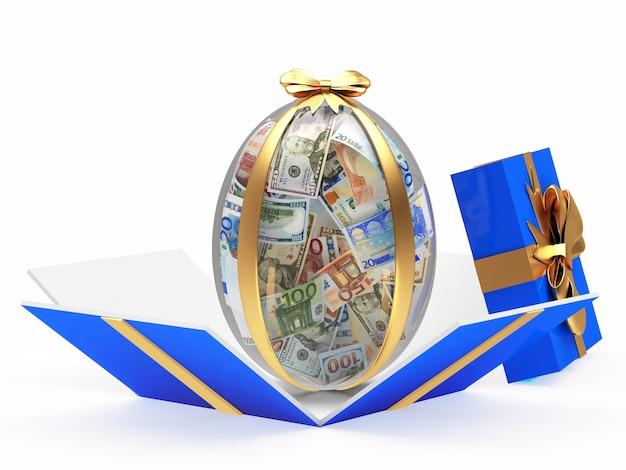 Oeuf de pâques plein de billets en dollars et en euros dans une boîte cadeau ouverte