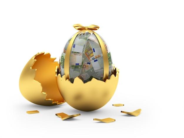 Oeuf de pâques rempli de billets en euros dans une coquille d'or cassée.