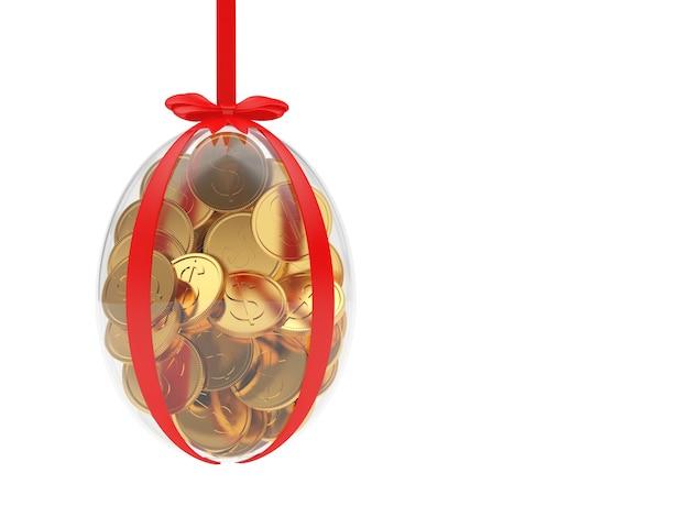Oeuf de pâques rempli de pièces de monnaie est suspendu à un ruban.