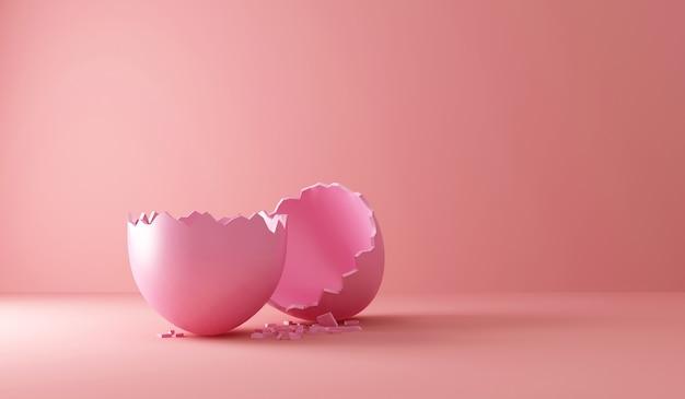 Oeuf de pâques rose cassé vide sur rose