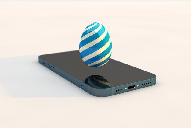 Oeuf de pâques de technologie avec smartphone. rendu 3d