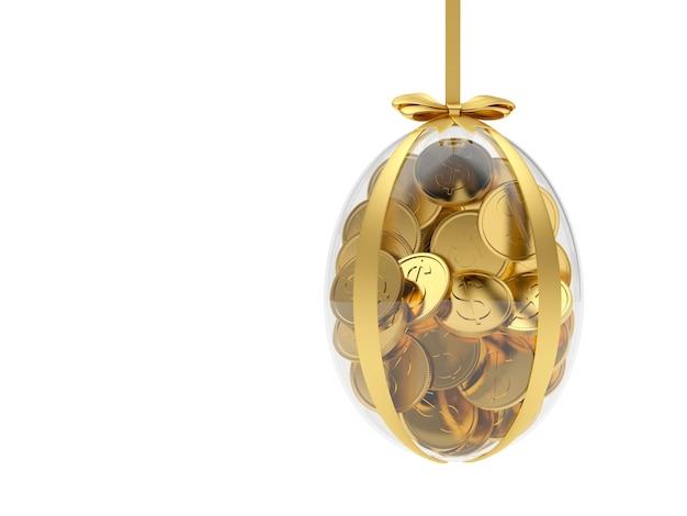 Oeuf de pâques transparent rempli de pièces de monnaie
