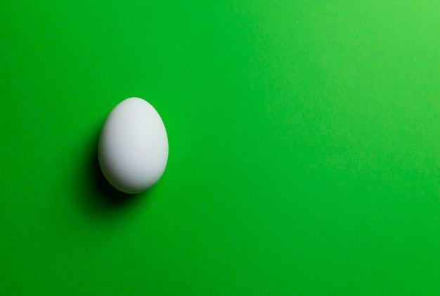 Oeuf de poule blanche sur fond vert