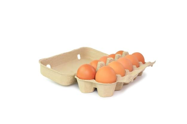Oeufs bruns de poulet dans une boîte en carton sur blanc