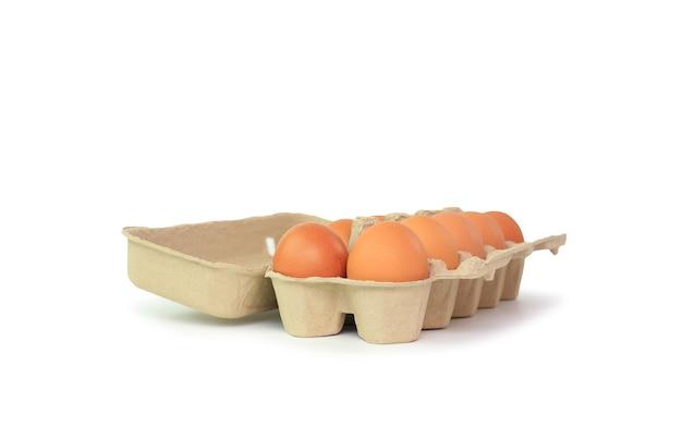Oeufs bruns de poulet dans une boîte en carton isolé sur fond blanc avec un tracé de détourage