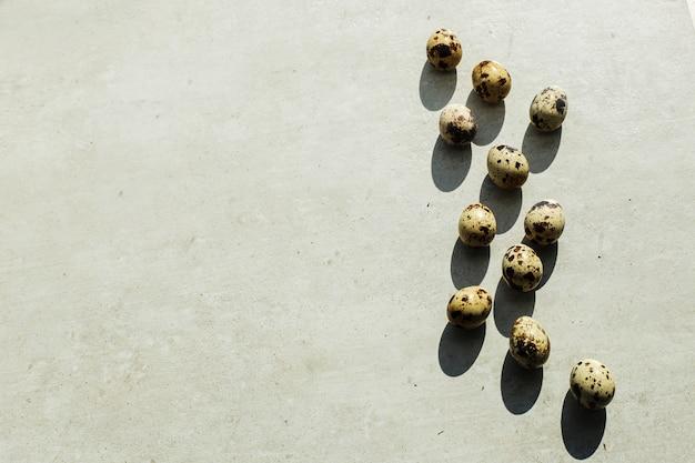 Oeufs de caille sur le sol