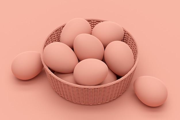 Œufs dans le panier en osier, monotone, rendu 3d