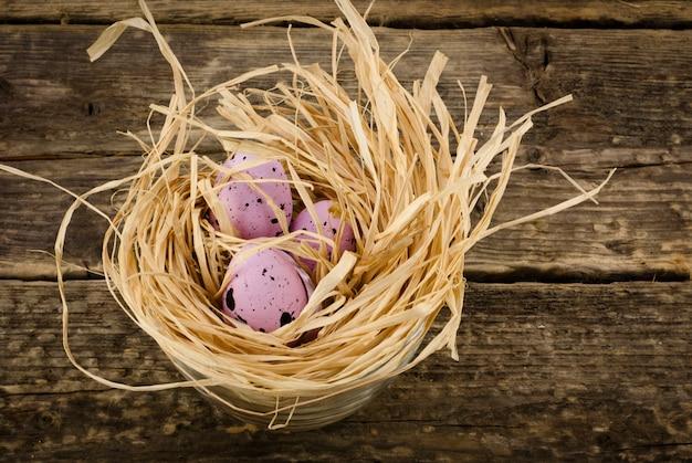 Oeufs décoratifs dans le nid, vue de dessus