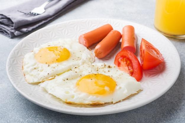 Œufs frits et saucisses