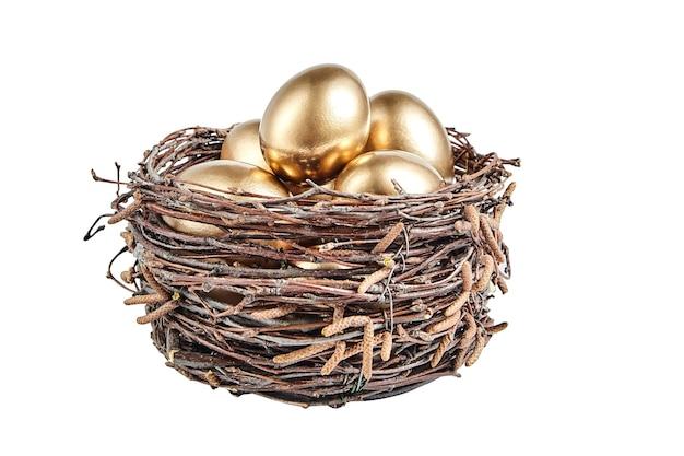 Oeufs de golgen dans un panier de branches de bouleau. œuf de poule de pâques peint dans le nid brun