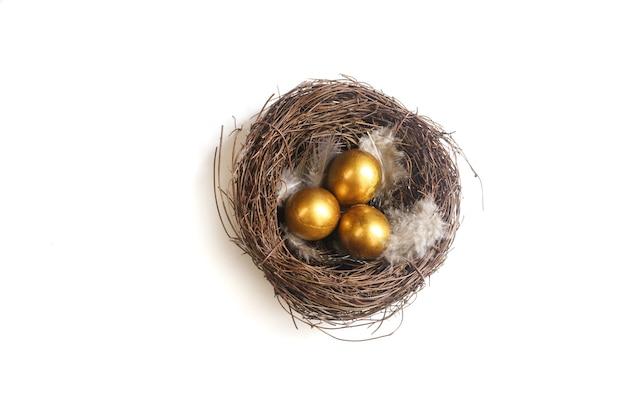 Oeufs d'or dans un nid d'oiseaux. concept de pâques et de réussite financière