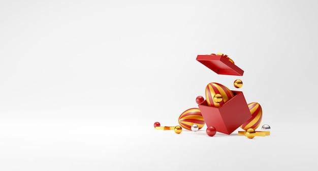 Oeufs de pâques et boîte-cadeau en rendu 3d