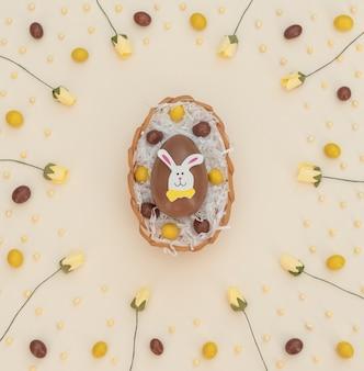 Oeufs de pâques choco brun et jaune de couleur dans le panier avec du papier blanc et des fleurs de printemps sur beige