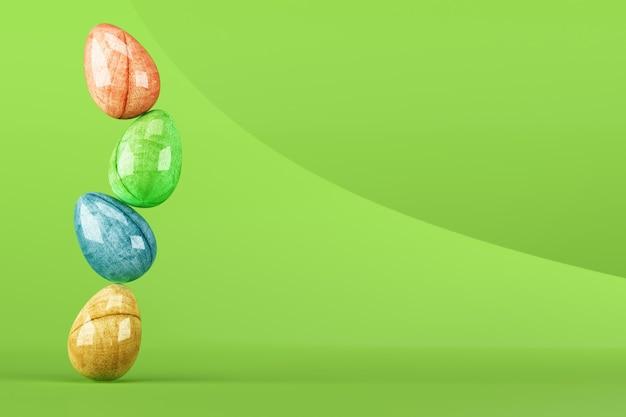 Oeufs de pâques colorés sur vert