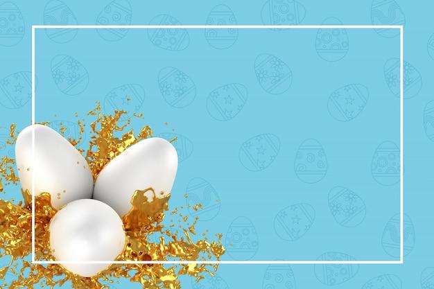 Oeufs de pâques dans les éclaboussures d'illustration 3d de peinture or