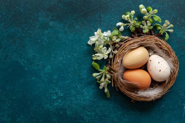 Oeufs de pâques dans le nid et les branches de pommier en fleurs