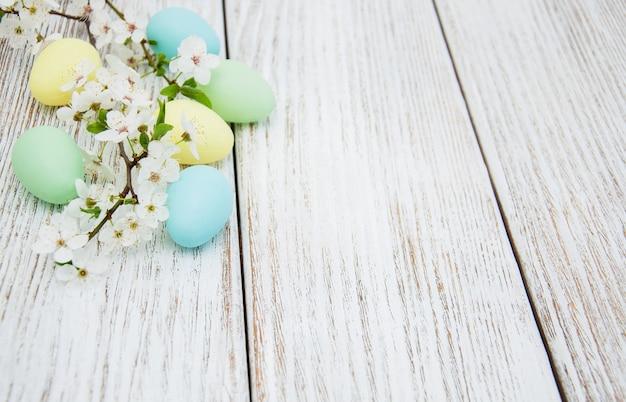 Oeufs de pâques et fleur de printemps