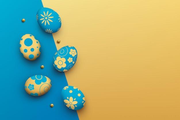 Oeufs de pâques sur fond coloré. vue de dessus