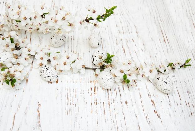 Oeufs de pâques et fond de fleurs de cerises