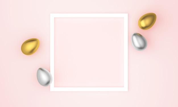 Oeufs de pâques or et argent avec cadre blanc pour texte sur rose pastel