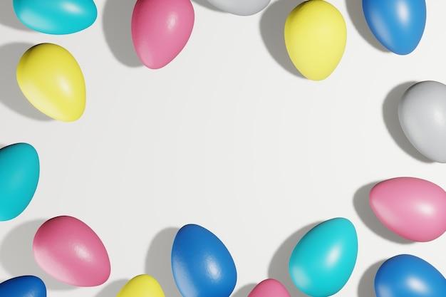 Oeufs de pâques peints dans des couleurs à la mode 2021. mise à plat, espace copie, rendu 3d