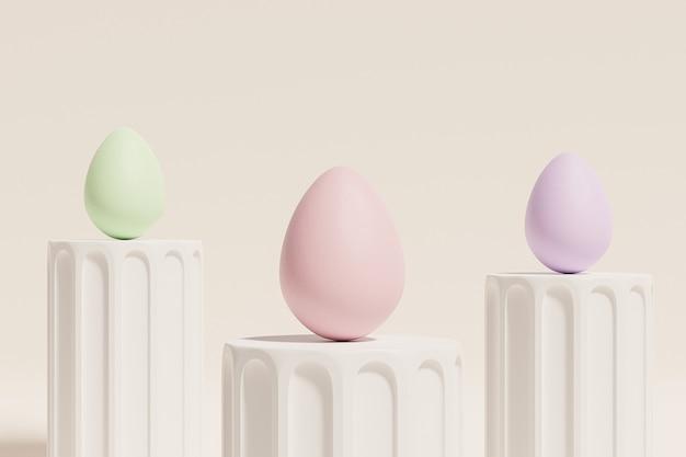 Oeufs de pâques peints dans des couleurs pastel sur des podiums piliers beiges