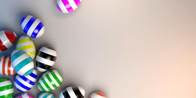Oeufs de pâques peints avec des lignes colorées bannière 3d illustration copy space